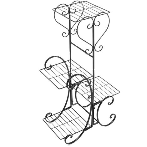 Support Plant Flower Pot Rack Metal Flower Display 4 Levels Interior Exterior Decor Floor Balcony Living Black Mohoo