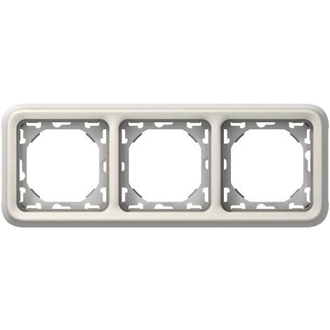 """main image of """"Support plaque - pour encastré Prog Plexo composable blanc - 3 postes horiz"""""""