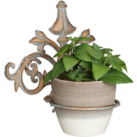 Support pot de fleurs mural baroque, fonte, décoration, Porte plantes mural extérieur, Ø 13,5 cm, gris-doré