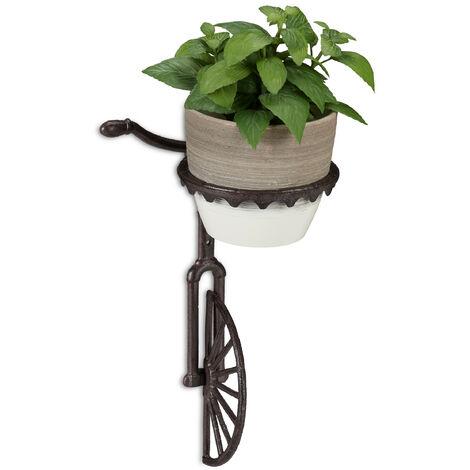 Support pot de fleurs mural roue, fonte, décoration extérieur, résistant aux intempéries, Ø 13 cm, brun foncé