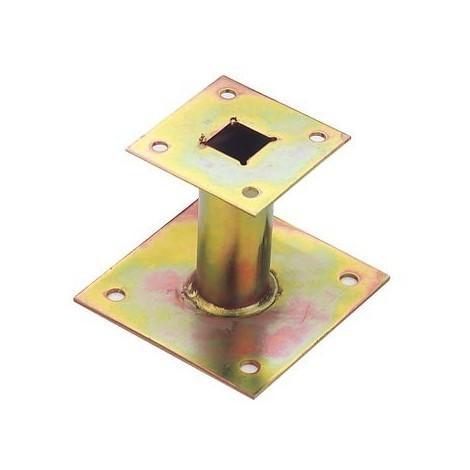 Support poteau Petit modèle TORBEL - Zingué - H.80 mm - Épaisseur 4 mm - Platine 100x100 mm - 103591