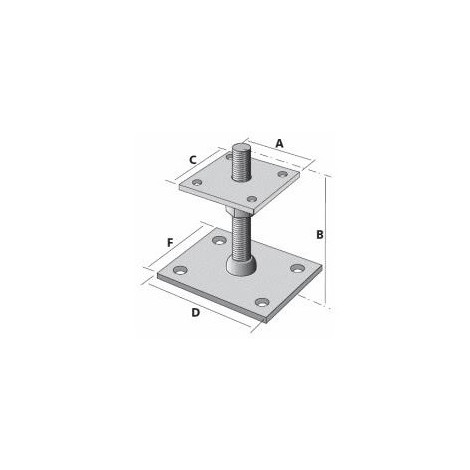 SUPPORT POTEAU REGLABLE H. 40 A 100MM PLATINE 80X80MM EP. 5MM PB40605