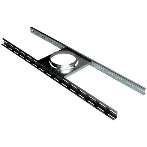 Support poujoulat sur plancher ou charpente inox/galva - Pour conduit de diamètre intérieur 180 à 230mm
