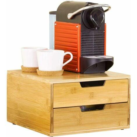 Support pour capsules de café Boîte à Capsules de Café à 2 tiroirs en bambou Distributeur de capsules Boîte àthé SoBuy® FRG82-N