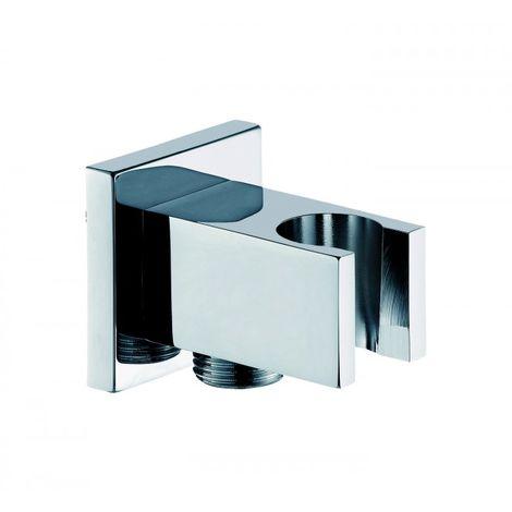 Support pour douchette à main avec branchement mural et clapet anti-retour BA002 - design carré