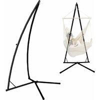 Support pour fauteuil suspendu 215 cm | Soutien pour accrocher balancelle et chaises suspendues | en Acier couleur Noir | Poids max supporté 120 kg | pour internes et externes