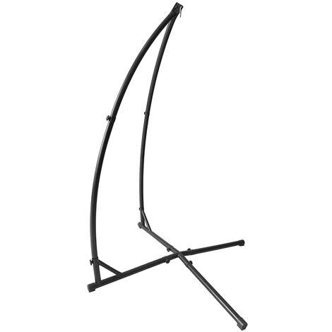 Support pour fauteuil suspendu 215cm soutien en acier pour accrocher balancelle et chaises suspendues poids max 120kg métal noir