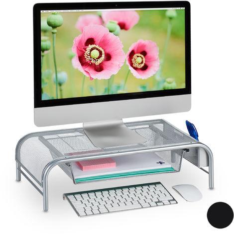 Support pour moniteur, Tiroir, 2 compartiments côté, support écran HxLxP: 15 x 51 x 29,5cm, argenté