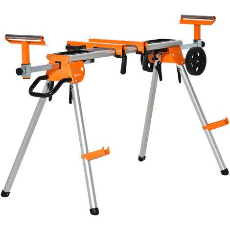 """main image of """"Support pour scie à onglet avec extensions - chevalet de sciage tronçonnage de bûches - pliable avec roulettes - charge max. 150 Kg - alu. métal orange"""""""