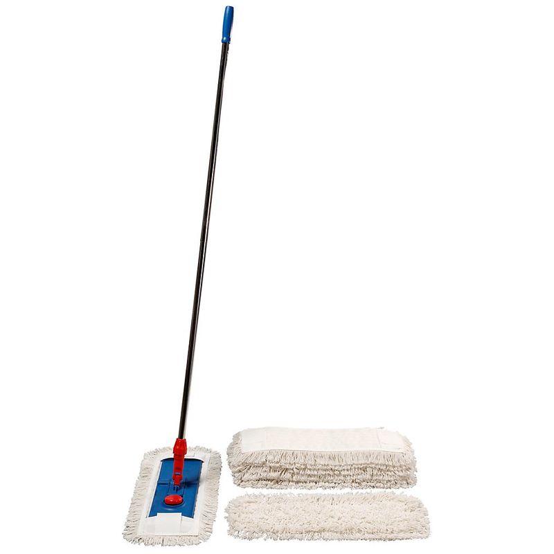 bleu - Support repliable - pour balai à franges plates à logements - largeur 500 mm - Coloris: rouge|bleu