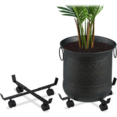 Support roulant plantes, jeu de 2, rond, intérieur et extérieur, freins, Plateau roulant pots de fleurs, métal