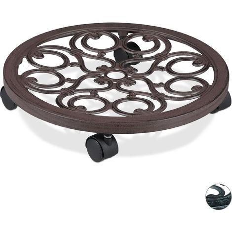 Support roulant plantes rond, en métal, plateau roulant pots à fleurs, aspect antique, brun