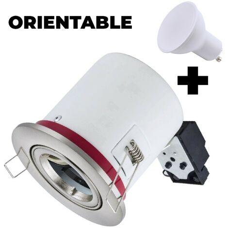 Support Spot BBC Orientable INOX + Ampoule GU10 5W Blanc Chaud + Douille