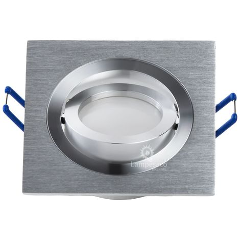 Support spot carré encastrable orientable aluminium | Sans douille + ampoule - Aluminium brillant