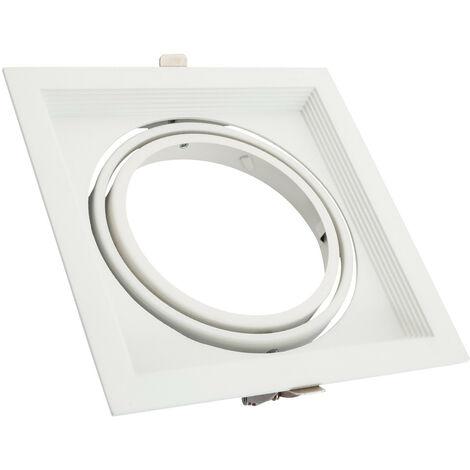 Support Spot Carré Orientable Aluminium pour 1 Ampoule LED AR111
