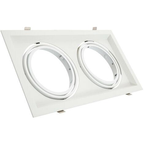 Support Spot Carré Orientable Aluminium pour 2 Ampoules LED AR111