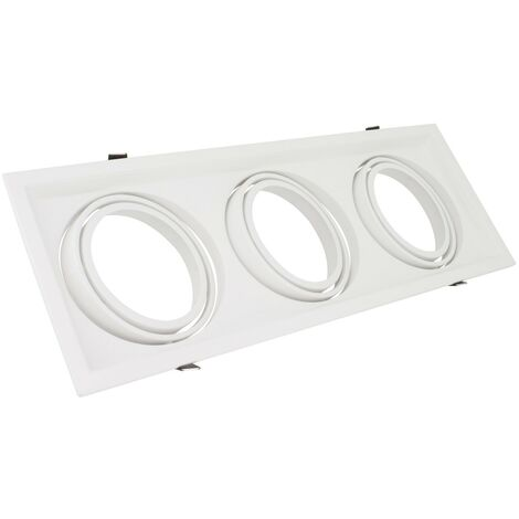 Support Spot Carré Orientable Aluminium pour 3 Ampoules LED AR111