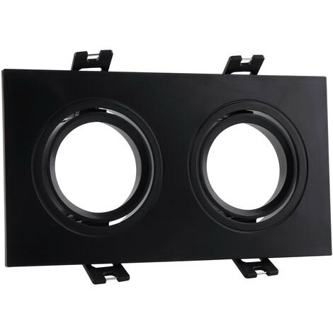 Support Spot Carré Orientable PC pour 2 Ampoules LED GU10 / GU5.3