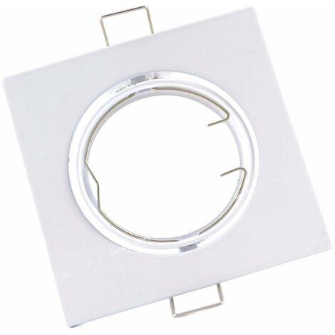 Support Spot Encastrable GU10 LED Orientable Carré BLANC