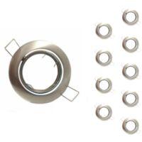 Support Spot Encastrable GU10 LED Orientable Rond INOX (Pack de 10) -
