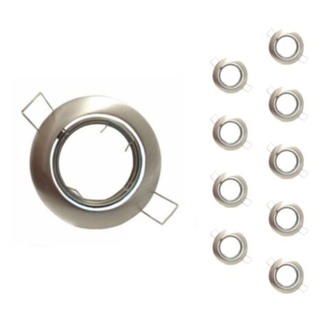 Support Spot Encastrable GU10 LED Orientable Rond INOX (Pack de 10) - Aluminium