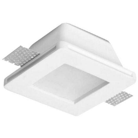 Support Spot GU10 LED Carré Blanc Ø120mm + vitre opaque - SILAMP