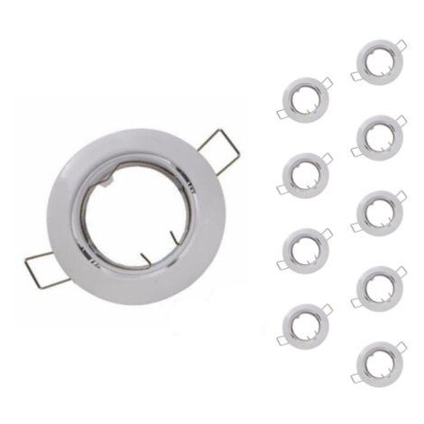 Support Spot GU10 LED Orientable BLANC (Pack de 10) - Blanc