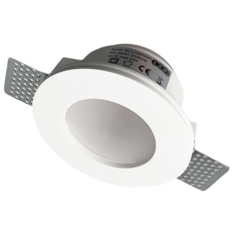 Support Spot GU10 LED Rond Blanc Ø120mm + vitre opaque - SILAMP