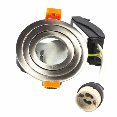 Support spot rond encastrable orientable aluminium Aluminium brillant