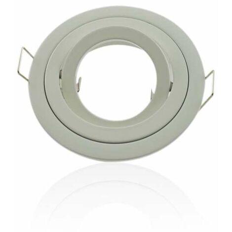 Support spot rond encastrable orientable blanc