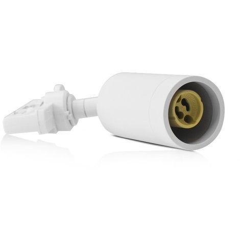 Support Spot sur rail pour LED + adapt 3 allumages avec douille GU10 Fini Blanc