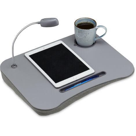 Support table de genoux pc portable Lampe LED ordinateur Porte gobelet, gris