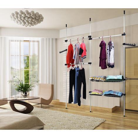 Support Télescopique Vêtement, Organisateur Télescopique Armoire, 320 x 200 cm, Blanc, Matériau: Tubes en fer, PP