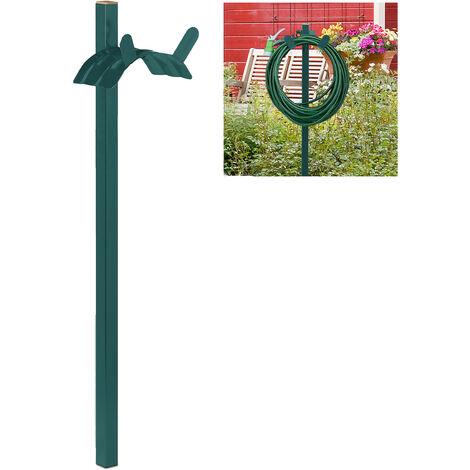 Support tuyau d\'arrosage, autonome, enrouleur debout, acier, solide, dérouleur droit, HLP 108x26x18cm, vert
