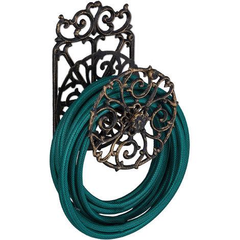 Support tuyau d\'arrosage, design antique, pivotant, en fonte de fer, HlP 34x23x18cm; choix de couleurs