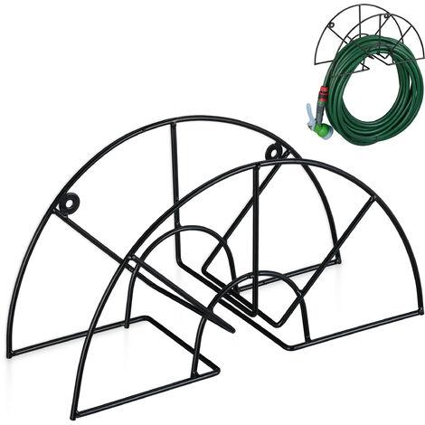 """Support tuyau d\'arrosage, pour 45 m & 5/8\"""", enrouleur, dévidoir, acier, montage mural, rond, jardin, noir"""