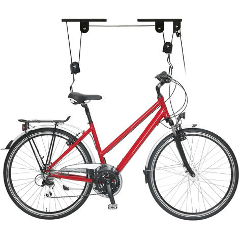 Support vélo rangement vélo plafond Garage Ascenseur VTT Stockage bicyclette, noir
