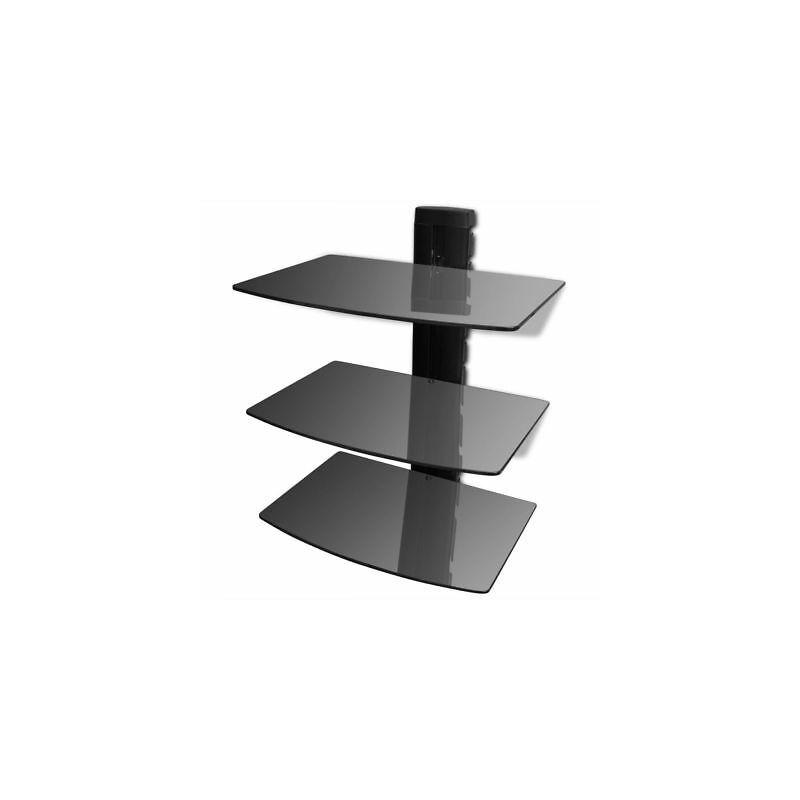 Montaggio Mensole A Muro.Supporto Con 3 Mensole Di Vetro Montaggio A Muro Per Dvd Nero