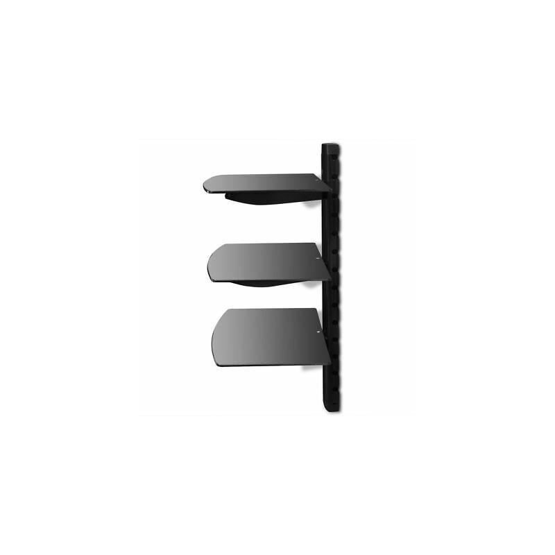 Montaggio Mensole A Muro.Supporto Con 3 Mensole Di Vetro Montaggio A Muro Per Dvd Nero 50368