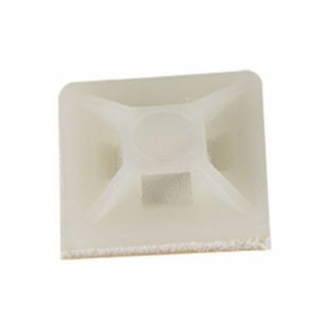 Supports adhésif blanc 19,5 x 19,5 mm pour collier de serrage - Rilsan 50 pièces
