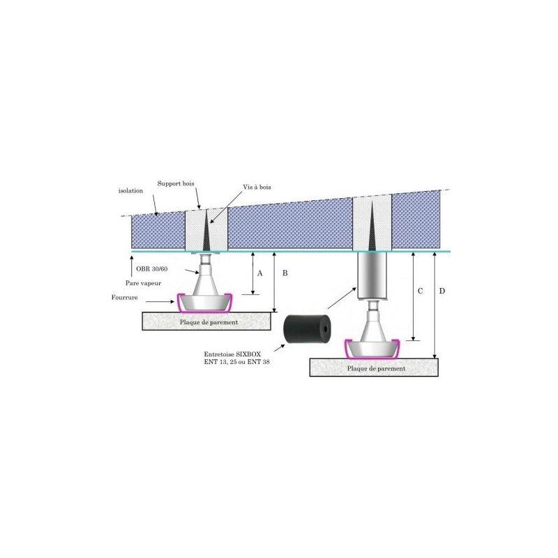 Toiture et plafond Support de rail r/églable 30//60mm SIXBOX lot de 50 pi/èces