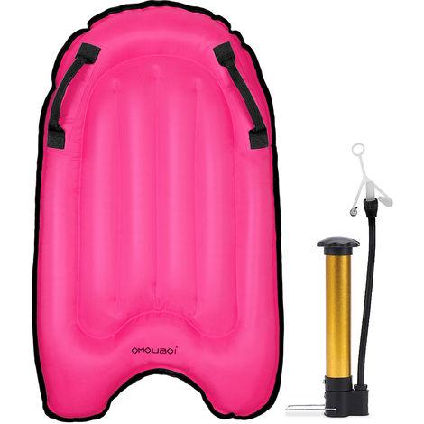 Surf Bodyboard Avec Pompe Portable Piscine Gonflable Flotteur Plage Surf Buoy Conseil Natation Flottant Tapis Avec Poignees Pour Adultes Enfants, Rose