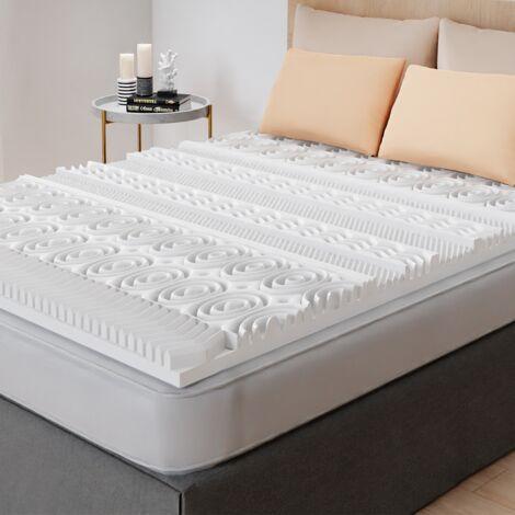 Surmatelas mousse mémoire de forme 13 zones - 80x200x5cm - Blanc