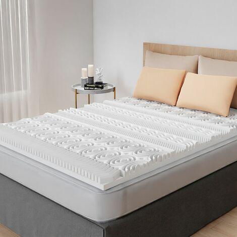 Surmatelas mousse mémoire de forme 13 zones - 90x190x5cm - Blanc