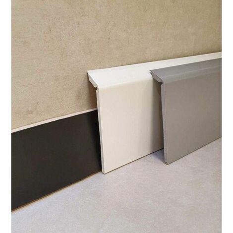 Surplinthe de rénovation en PVC, Plinthe à recouvrement blanche ou grise haute qualité hauteur 11.4 cm, Longueur au choix - Blanc - 210 ML.