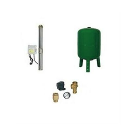 Surpresseur en Kit Pompe Immergée 1100 W - 14 Turbines Réservoir vertical 200 L