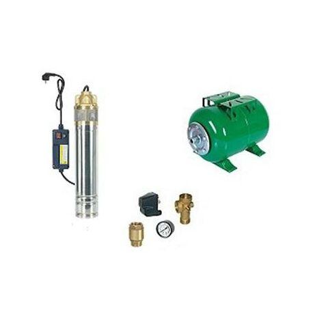 Surpresseur en Kit Pompe Immergée 750 W - 1 Turbine laiton Réservoir horizontal 200 L