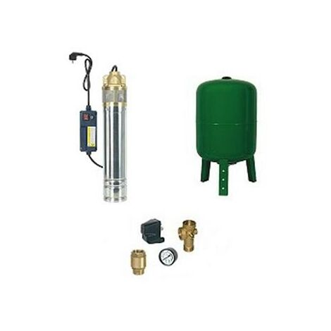 Surpresseur en Kit Pompe Immergée 750 W - 1 Turbine laiton Réservoir vertical 100 L