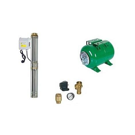 Surpresseur en Kit Pompe Immergée 750 W - 10 Turbines Réservoir horizontal 200 L
