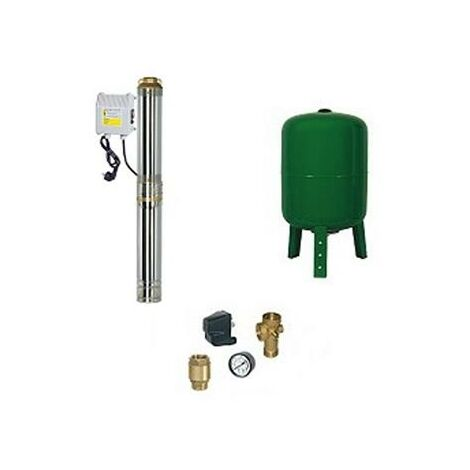 Surpresseur en Kit Pompe Immergée 750 W - 10 Turbines Réservoir vertical 100 L